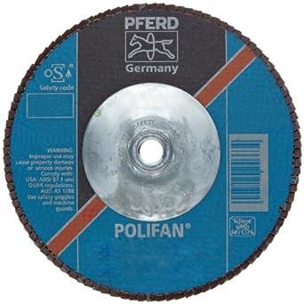 PFERD Polifan SGP Abrasive Flap Disc, Type 27, Threaded Hole, Phenolic Resin Backing, Zirconia Alumina