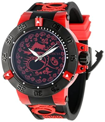 Invicta Men's 11540 Subaqua Noma III Black and Red Dragon Dial Black Silicone Watch