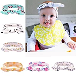 Mookiraer Baby Girl Newest Turban Headband Newborn Girls Headband Bow Set (MI130)