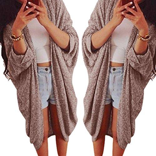 Knit Cardigan,Hemlock Women's Lady Fashion Casual Loose Sweater Oversize Sleeve Coat (M, Khaki)