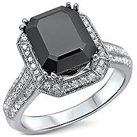 3.0ct Emerald Black Diamond Engagement Ring 18k White Gold