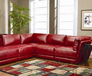 9. Kayson Red Sectional Sofa Set by Coaster - ShelterLIS4