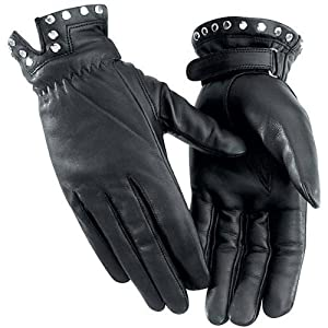 River Road Tallahassee Women's Leather Cruiser Motorcycle Gloves - Black / Medium