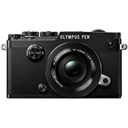 Olympus PEN-F Systemkamera (20,3 Megapixel, 5-Achsen VCM Bildstabilisator, elektronischer Sucher mit 2,36 Mio. OLED, 7,6 cm (3 Zoll) TFT LCD-Display, Full-HD, WLAN, Metallgehäuse) Kit inkl. 14-42mm EZ Pancake Objektiv, schwarz