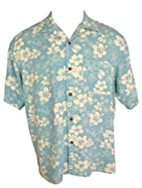 Mens Hawaiian Silk Camp Shirt Casual Mint Blue- M L XL XXL (XL)