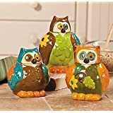 Owl Canisters Jars - Kitchen Decor - Set of 3