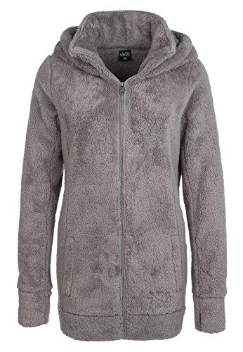 Sublevel Damen Teddy Fleece Mantel   Kuscheliger Fleecemantel mit hohem Kragen erhältlich in grau & schwarz