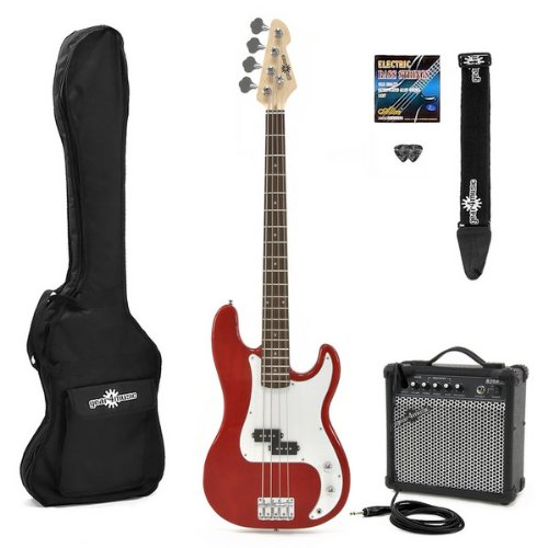 Electric G-4 Bass Guitar  &  Amp Pack Red