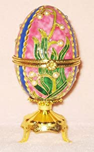 Faberge Inspired Cloisonne Musical Egg Jewelry Box - Plays Waltz of the Flowers