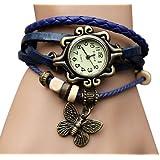 Sannysis 1PC Blue Retro Vintage Womens Leather Quartz Butterfly Weave Wrap Around Watch