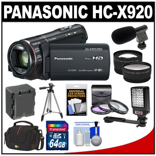 Panasonic HC-X920 3MOS Ultrafine Full HD Wi-Fi Video Camera Camcorder (Black) with 64GB Card + Battery + Case + LED Video Light + Microphone + 3 UV/FLD/CPL Filters + Tripod + Telephoto & Wide-Angle Lenses + Accessory Kit