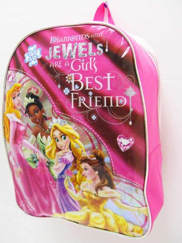 "Disney Princess Large 16 Inch School Backpack "" Diamonds and Jewels "" - 1"