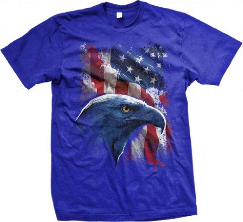 Big Usa Flag With Bald Eagle Men'S T-Shirt (Royal, Small)