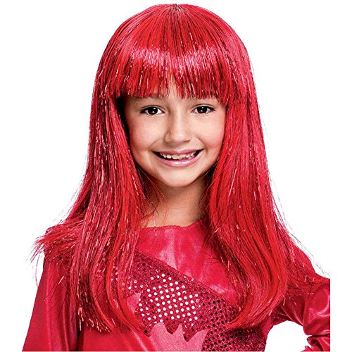 Glitzy Glamour Red Kids Wig - One Size