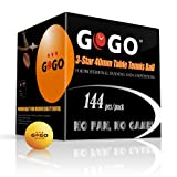 GOGO™ 3-Star 40mm Table Tennis Balls (144-pack), Ping Pong Balls - Orange