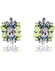 Cinderella Collection By Shining Diva Silver & Yellow Crystal Stylish Fancy Party Wear Stud Earrings For Girls...