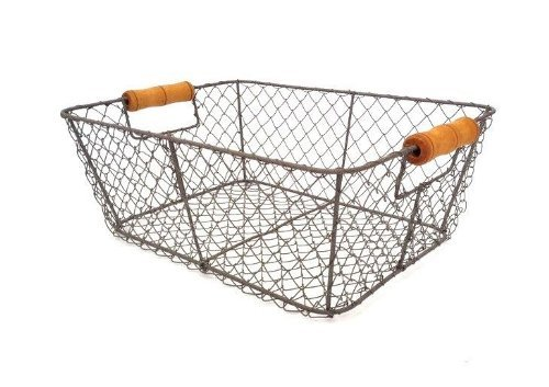 Wire Storage Basket Metal Mesh Crate Vintage Chic Industrial Style Caddy Trug 0
