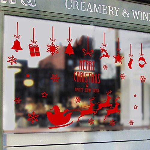wandsticker4u-decoracion-de-la-ventana-de-papa-noel-en-el-trineo-rojo-90x65-cm-gafas-de-cristal-de-n