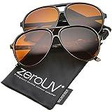 zeroUV - Retro 80s Vintage Blue Blocking XL Large Plastic Aviator Sunglasses