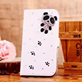 Locaa(TM) For HTC One Mini 2 (M8 mini Mini2 2014) 3D Bling Cases Deluxe Luxury Crystal Pearl Diamond Rhinestone eye-catching Beautiful Leather Retro Support bumper Cover Card Holder Wallet Case - [General series] cute panda
