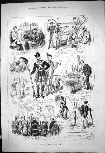 old-original-antique-victorian-print-1880-sport-belgium-scheldt-alphonse-emile-fishing-uncle-toby-po