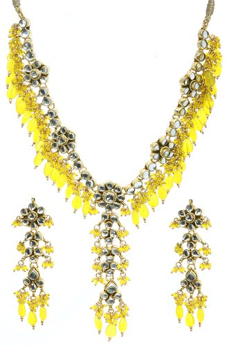 Yellow Kundan Necklace Set - Copper Alloy with Cut Glass