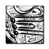 3dRose ct_156033_2 French Horn Piping Close Up Abstract Music Design Inverted Ceramic Tile, 6-Inch