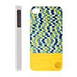 Man & Wood iPhone4/4Sケース Real wood case Harmony Yellow Submarine (ホワイトフレーム) イタリアデザイン 天然木 ウッドケース I1040i4SW