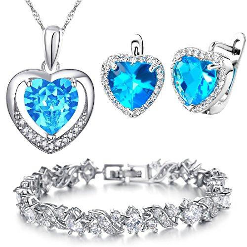 Kim-Johanson-Damen-Schmuckset-Blue-Love-Halskette-mit-Anhnger-Ohrringe-Armband-aus-925-Sterling-Silber-Edelstahl-mit-Zirkonia-Steinchen-besetzt-inkl-Schmuckbeutel