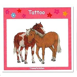 Traumpferdchen Tattoo, mit süssem Pferde-Motiv, 5cm x 4,5cm, Pony-Tattoo