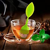 Silicone Stainless Steel Leaf Shape Tea Bag Infusers (Yellow)