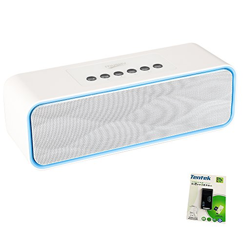 Portable Bluetooth Stereo Speaker, with 2X5W Acoustic Drivers, Dual Subwoofer, FM Radio & Handsfree Speakerphone, Micro SD Card & USB & AUX Slots for Smart Phone, MP3, MP4, iPad, Tablet & More(White)