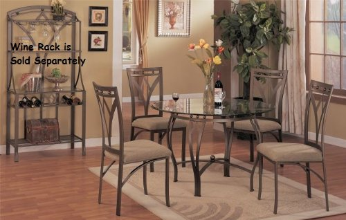 Cheap 5 PC. Set 8mm Beveled Glass Top Table and Classic High Back Fabric Seat Chairs by H-M Shop (F2028)