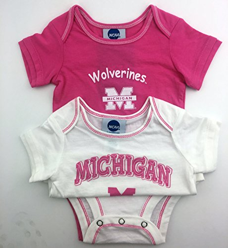 Pack of 2 OuterStuff Officially Licensed Infant 12 Month Michigan Wolverines Baby Girls Pink and White Onesie Romper (Wolverine Mascot)