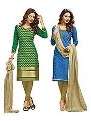 Subhash Sarees Daily Wear Green and Royal Blue Color Chanderi Jacquard Salwar Suit Dress Material 2 Top, 1 Bottom, 1 Dupatta