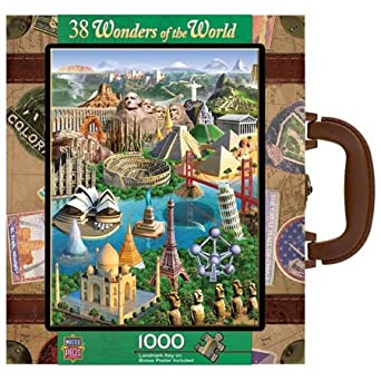 38 Wonders of The World Suitcase Jigsaw Puzzle, 1000-Piece