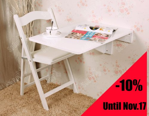 Wall-mounted Drop-leaf Table, Folding Kitchen & Dining Table Desk, Solid Wood Children Table, 70×45cm - White, FWT04-W