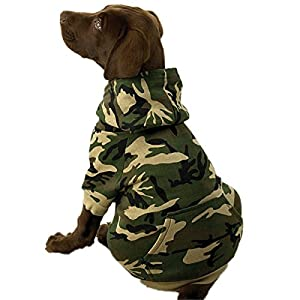 Casual Canine Camo Hooded Dog SweatShirt, M, Green, Cotton