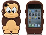 Boriyuan OEM Monkey 3D Cartoon Soft Shell Case Cover for iPhone 4/4S - Brown