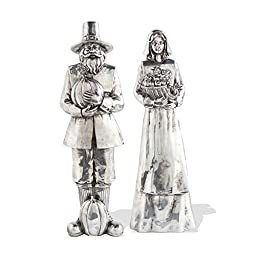 Set of 2 - 9 Inch Silver Pilgrims