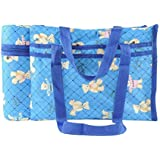 N&M Multi Purpose Baby Diaper Mother Bag With 2 Bottle Holders - Keep Baby Bottles Warm (Blue) - Assorted Prints