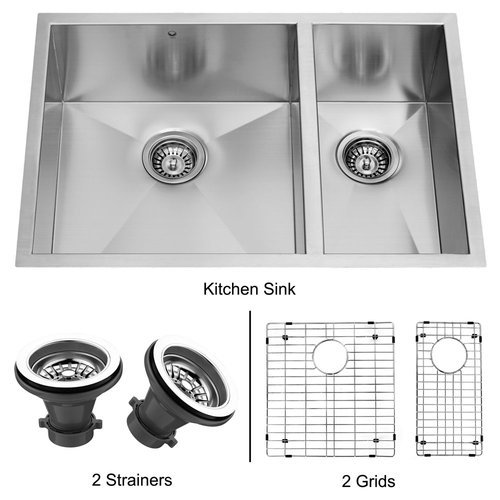 VIGO VG2920BLK1 29-inch Undermount Stainless Steel Kitchen Sink, Two Grids and Two Strainers