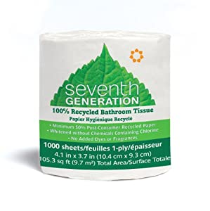 Seventh Generation Bathroom Tissue, 1-Ply Sheets, 1000 Sheet Roll (Pack of 48)