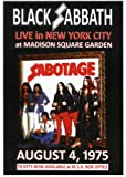 Black Sabbath Aug 04 1975, New York City, NY, Madison Square Garden - Reproduction Poster Approximate size 11.7