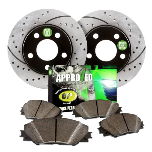 2005 Mazda 3 2.0LEngine Approved Performance J29652 - [Front Kit] Performance Drilled/Slotted Brake Rotors and Carbon Fiber Pads (2005 Mazda 3i compare prices)