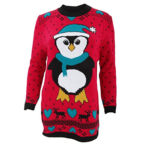 Womens/Ladies Knitted Long Length Christmas Jumper (S/M) (Red)