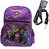 "Monster High Large Purple Backpack 16"" with Lanyard"