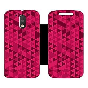 Skintice Designer Flip Cover with Vinyl wrap-around for Motorola Moto G4 Plus, Design - Red Mosaic