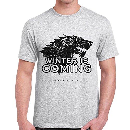 CHEMAGLIETTE! - T-Shirt Game Of Thrones House Stark Winter Is Coming Trono Di Spade Maglietta, Colore: Cenere, Taglia: XL