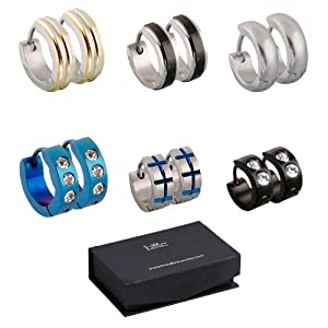 BMC 6pc Mens Stainless Steel Fashionable Multicolor Crystal Studded 4mm Luxury Hinge Snap Hoop Earrings Lot - Set 2